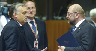 20151015 - BRUSSELS, BELGIUM: Hungary's Prime Minister Viktor Orban and European Parliament president Martin Schulz pictured at the round table photo opportunity in the meeting room ahead of the start of the meeting, on the first day of a two days European summit with head of states, Thursday 15 October 2015, at the European union headquarters in Brussels. BELGA PHOTO POOL DIDIER LEBRUN