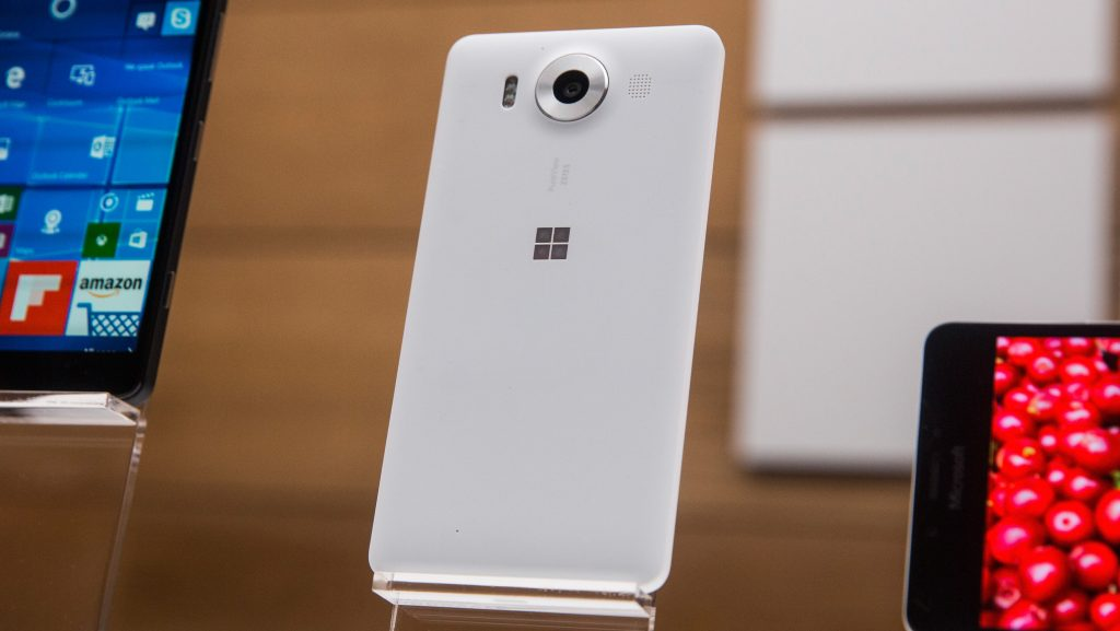 NEW YORK, NY - OCTOBER 06: A new phone titled the Microsfot Lumia 950 sit on display at a media event for new Microsoft products on October 6, 2015 in New York City. Microsoft also unveiled a virtual reality head set titled the HoloLens, a tablet titled the Surface Pro 4, a laptop titled the Surface Book and a biometrics wristband titled the Band 2.   Andrew Burton/Getty Images/AFP