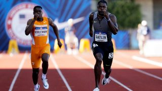 EUGENE, OR - JULY 03: Justin Gatlin runs to victory ahead of Christian Coleman in the Men's 100 Meter Final during the 2016 U.S. Olympic Track & Field Team Trials at Hayward Field on July 3, 2016 in Eugene, Oregon.   Andy Lyons/Getty Images/AFP
