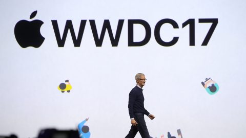 SAN JOSE, CA - JUNE 05: Apple CEO Tim Cook delivers the opening keynote address the 2017 Apple Worldwide Developer Conference (WWDC) at the San Jose Convention Center on June 5, 2017 in San Jose, California. Apple CEO Tim Cook kicked off the five-day WWDC that runs through June 9.   Justin Sullivan/Getty Images/AFP