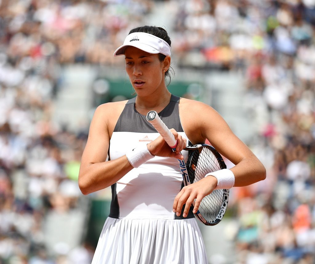 PARIS, FRANCE - JUNE 04: Garbine Muguruza of Spain reacts during the match against Kristina Mladenovic of France in their 4th round match of the French Open tennis tournament at the Roland Garros stadium in Paris, France on June 04, 2017.  Mustafa Yalcin / Anadolu Agency