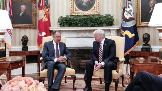 WASHINGTON, USA - MAY 10: US President Donald Trump (R) and Russia's Foreign Minister Sergei Lavrov (L) meet at the Oval Office of White House in Washington, D.C., United States on May 10, 2017. Russia Foreign Minister Press Ofice  / Anadolu Agency