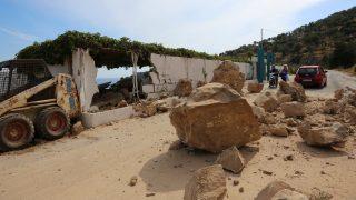 LESBOS, GREECE - JUNE 12: Huge rocks are seen following the 6,2 magnitude earthquake hit Plomari region of Lesbos in Greece on June 12, 2017.  Manolis Lagoutaris / Anadolu Agency