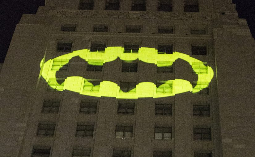 LOS ANGELES, CA - JUNE 15: A view of the bat signal during  Los Angeles Pays Tribute To Adam West at Los Angeles City Hall on June 15, 2017 in Los Angeles, California.  (Photo by Harmony Gerber/Getty Images)