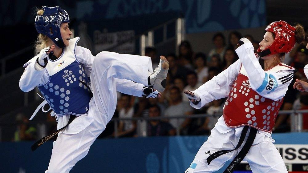 Baku, 2015. június 17. Kotsis Edina (kékben) és a brit Jade Jones az I. Európa Játékok nõi tekvondó versenyének negyeddöntõjében 2015. június 17-én.  MTI Fotó: MOB/Szalmás Péter
