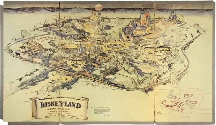 Kalifornia, 2017. június 26. A Van Eaton Galleries amerikai aukciós ház által 2017. június 26-án közreadott fénykép az elsõ Disneyland élménypark eredeti, színezett térképérõl, amellyel Walt Disney legendás amerikai rajzfilmkészítõ, a park alapítója az anaheimi létesítmény megépítéséhez szükséges anyagi támogatásért pályázott 1953-ban. A térkép 708 ezer dollárért (közel 196 millió forint) kelt el az aukciós ház június 25-i árverésén. (MTI/EPA/Van Eaton Galleries)