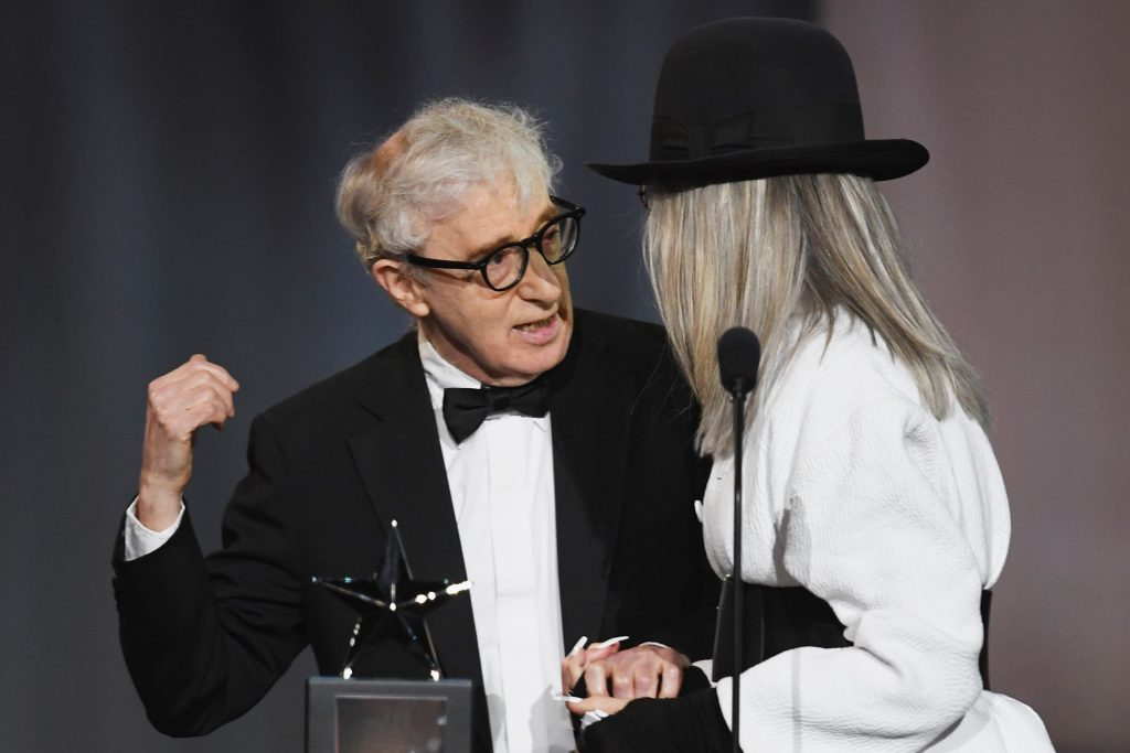 HOLLYWOOD, CA - JUNE 08:  Director-actor Woody Allen (L) presents the AFI Life Achievement Award to honoree Diane Keaton onstage during American Film Institute's 45th Life Achievement Award Gala Tribute to Diane Keaton at Dolby Theatre on June 8, 2017 in Hollywood, California. 26658_007  (Photo by Kevin Winter/Getty Images)
