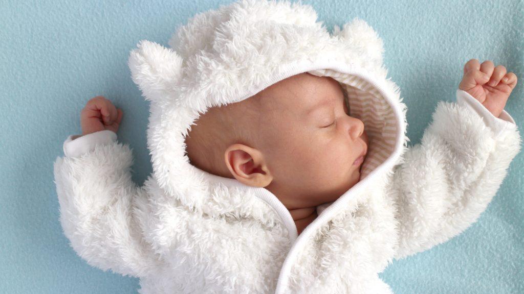 Baby in teddy bear suit