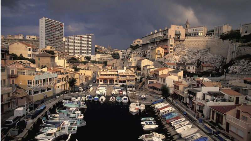 """General view of the """"Vallon des Auffes"""" from the Champigny guest house on a stormy day. The Vallon area, situated in a small, picturesque fishing port near the city center is famous for its quality fish restaurants. (Photo by michel Setboun/Corbis via Getty Images)"""