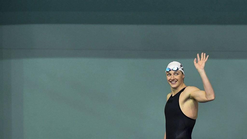 Debrecen, 2017. április 22.A győztes Hosszú Katinka az 50 méteres hátúszás döntője után az úszók országos bajnokságán a Debreceni Sportuszodában 2017. április 22-én.MTI Fotó: Czeglédi Zsolt