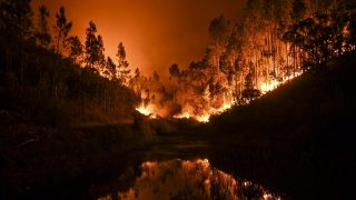 A wildfire is reflected in a stream at Penela, Coimbra, central Portugal, on June 18, 2017.  A wildfire in central Portugal killed at least 25 people and injured 16 others, most of them burning to death in their cars, the government said on June 18, 2017. Several hundred firefighters and 160 vehicles were dispatched late on June 17 to tackle the blaze, which broke out in the afternoon in the municipality of Pedrogao Grande before spreading fast across several fronts.  / AFP PHOTO / PATRICIA DE MELO MOREIRA