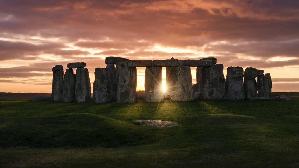 Colorful sunset over Stonehenge
