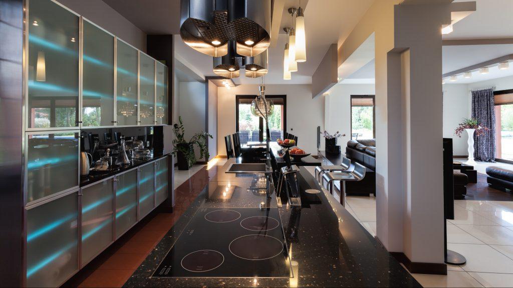 An original galaxy kitchen interior with fancy lights