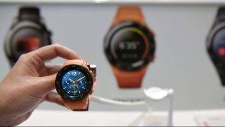 Picture shows Chinese multinational networking and telecommunications equipment and services company Huawei's new Watch 2 4G after its presentation in Barcelona on February 26, 2017 on the eve of the start of the Mobile World Congress. Phone makers will seek to seduce new buyers with even smarter Internet-connected watches and other wireless gadgets as they wrestle for dominance at the world's biggest mobile fair starting tomorrow.  / AFP PHOTO / LLUIS GENE