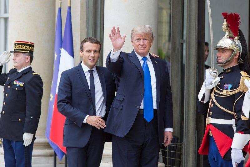 FRANCE, Paris: French President Emmanuel Macron receives U.S. President Donald Trump at Elysee Palace in Paris, France on July 13, 2017. - Ilan Deutsch
