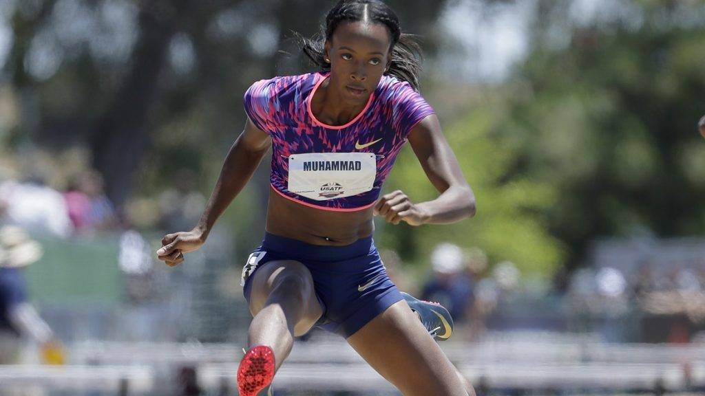 SACRAMENTO, CA - JUNE 25: Dalilah Muhammad clears a hurdle on the way to win the Women's 400 Meter Hurdles during Day 4 of the 2017 USA Track & Field Championships at Hornet Satdium on June 25, 2017 in Sacramento, California.   Andy Lyons/Getty Images/AFP