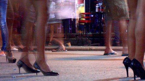 High heels and miniskirts along Bangla road, the main nightlife street in Patong Beach