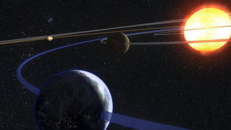 Le systeme solaire - Our solar system. Artwork - Orbites des planetes autour du Soleil. Orbits of planets around the Sun ©Sebastian Voltmer/Novapix/Leemage