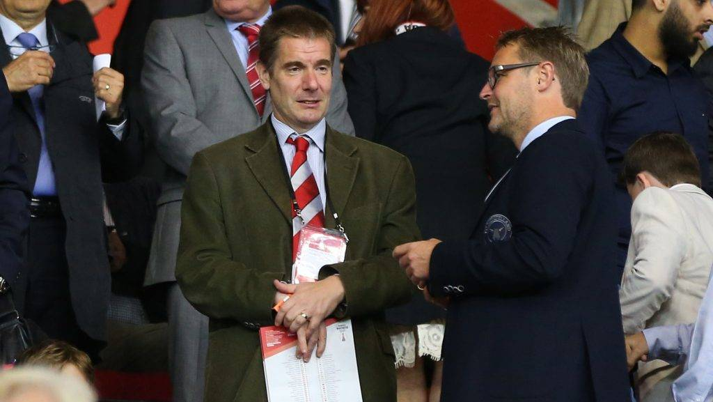 SOUTHAMPTON, ENGLAND - AUGUST 20:  Matthew Benham owner of FC Midtjylland and Brentford before the UEFA Europa League Play Off Round 1st Leg match between Southampton and FC Midtjylland at St Mary's Stadium on August 20, 2015 in Southampton, England.  (Photo by Catherine Ivill - AMA/Getty Images)