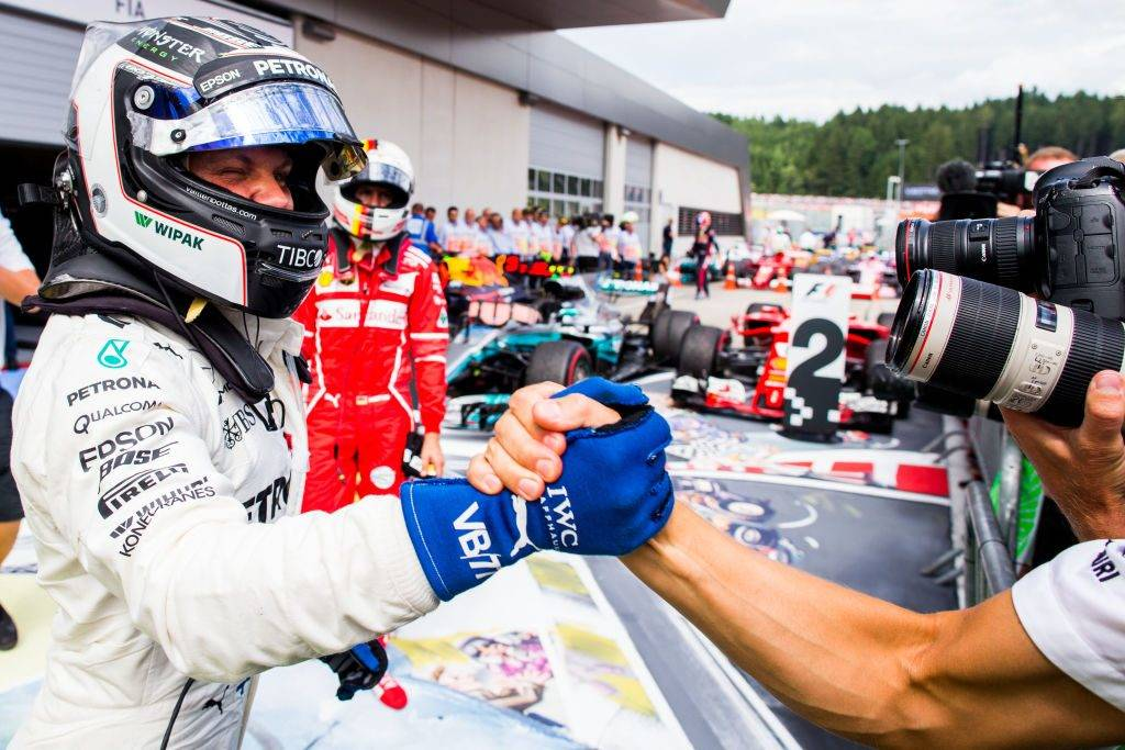 SPIELBERG, AUSTRIA - JULY 09:  Valterri Bottas of Mercedes and Finland during the Formula One Grand Prix of Austria at Red Bull Ring on July 9, 2017 in Spielberg, Austria.  (Photo by Peter J Fox/Getty Images)