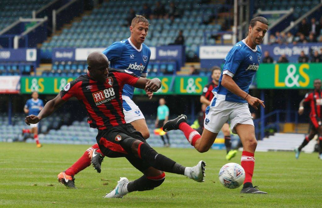 PORTSMOUTH, ENGLAND - JULY 22: Benik Afobe of AFC Bournemouth in action during a pre-season friendly match between Portsmouth and AFC Bournemouth at Fratton Park on July 22, 2017 in Portsmouth, England. (Photo by Harry Hubbard/Getty Images)