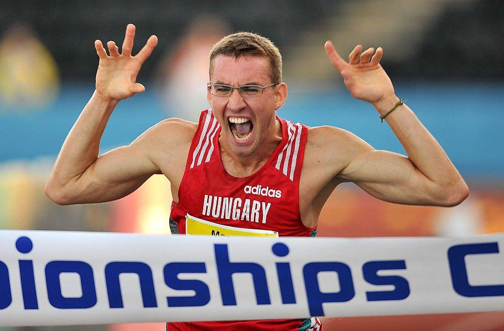 LONDON, ENGLAND - AUGUST 15:  Adam Marosi of Hungary celebrates winning the Men's Modern Pentathlon as he crosses the finish line during day three of the 2009 Modern Pentathlon World Championships at Crystal Palace on August 15, 2009 in London, England.  (Photo by Christopher Lee/Getty Images)