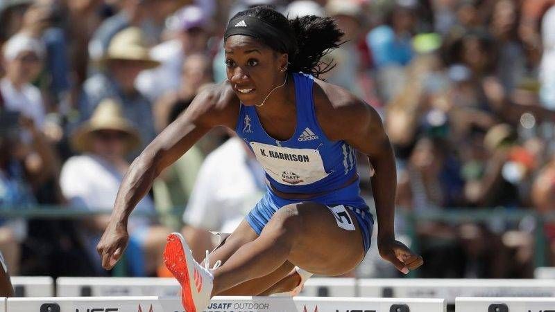 SACRAMENTO, CA - JUNE 24: Kendra Harrison clears a hurdle on the way to victory in the Women's 100 Meter Hurdle Final during Day 3 of the 2017 USA Track & Field Championships at Hornet Satdium on June 24, 2017 in Sacramento, California.   Andy Lyons/Getty Images/AFP