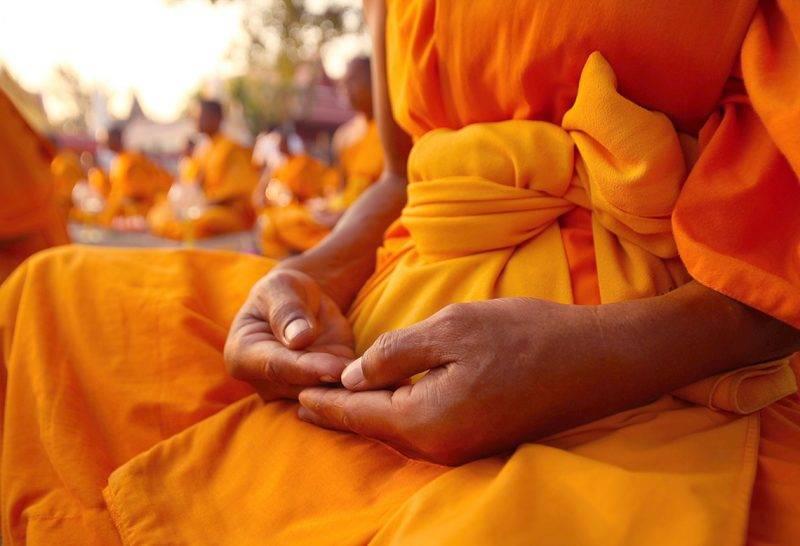 Buddhist monk hand detail, the monk