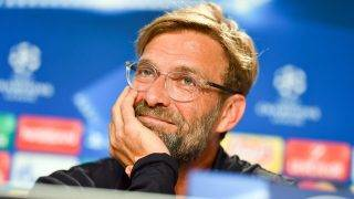 Liverpool's coach Juergen Klopp laughs during a press conference previously to the Champions League's qualifer match between 1899 Hoffenheim and FC Liverpool in the Rhein-Neckar-Arena in Sinsheim, Germany, 14 August 2017. Photo: Uwe Anspach/dpa