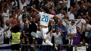 MADRID, SPAIN - AUGUST 16: Marco Asensio of Real Madrid celebrates after scoring during the Spanish Super Cup return match between Real Madrid and Barcelona at Santiago Bernabeu Stadium in Madrid, Spain on August 16, 2017.  Burak Akbulut / Anadolu Agency
