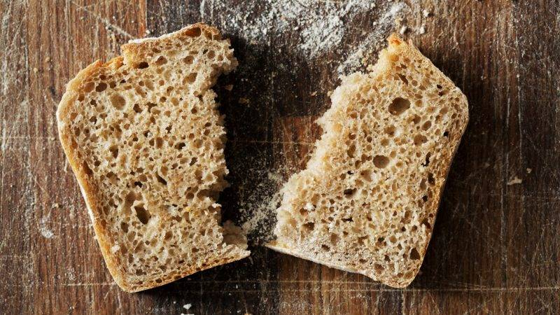 [Chipping Sodbury, Gloucestershire, England] Close up of a freshly baked slice of bread.