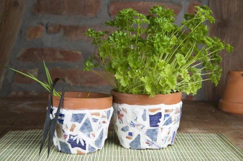 Kräuterpflanzen in Tontöpfen mit Keramik Bruchstücken beklebt auf Bambusläufer