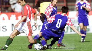 Pécs, 2002. május 8.Magyarország - Horvátország barátságos labdarúgó mérkőzést játszottak Pécsett. A képen: Bódog Tamás(b) Niko Kovac(11) és Jerko Leko(8). hátul Goran Sablic(5)MTI Fotó: Illyés Tibor