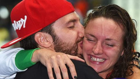 KAZAN, RUSSIA - AUGUST 03:  Gold medalist Katinka Hosszu of Hungary celebrates with her Husband Shane Tusuphoz poses during the medal ceremony for the Women's 200m Individual Medley on day ten of the 16th FINA World Championships at the Kazan Arena on August 3, 2015 in Kazan, Russia.  (Photo by Matthias Hangst/Getty Images)