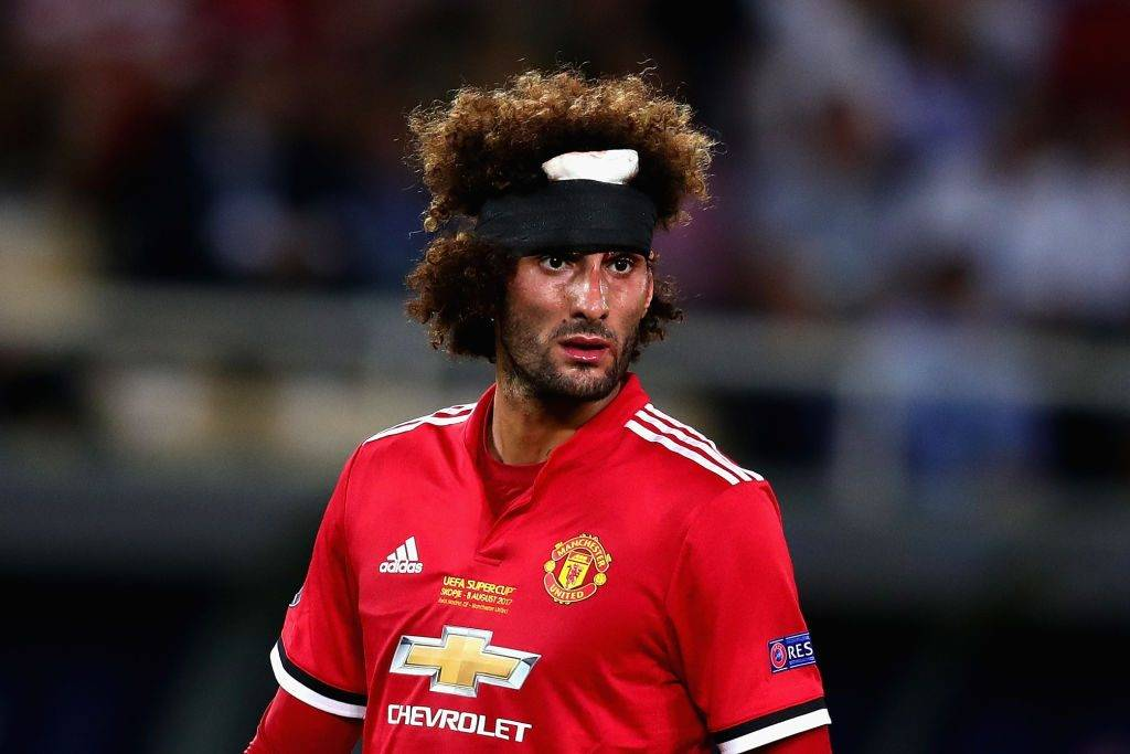 SKOPJE, MACEDONIA - AUGUST 08: Marouane Fellaini of Manchester United sports a bandage after getting a head injury during the UEFA Super Cup match between Real Madrid and Manchester United at National Arena Filip II Macedonian on August 8, 2017 in Skopje, Macedonia.  (Photo by Chris Brunskill Ltd/Getty Images)
