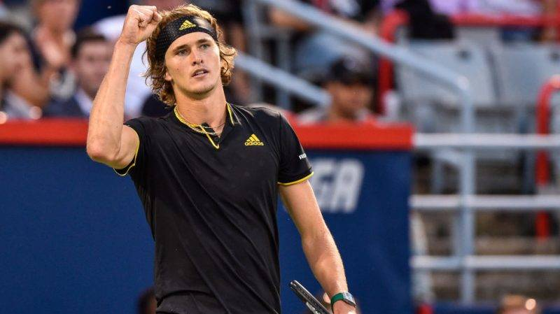MONTREAL, QC - AUGUST 10:  Alexander Zverev of Germany celebrates his victory over Nick Kyrgios of Australia during day seven of the Rogers Cup presented by National Bank at Uniprix Stadium on August 10, 2017 in Montreal, Quebec, Canada.  Alexander Zverev of Germany defeated Nick Kyrgios of Australia 6-4, 6-3.  (Photo by Minas Panagiotakis/Getty Images)