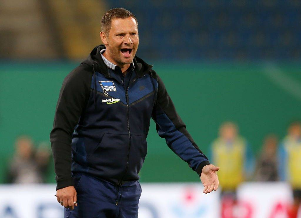 ROSTOCK, GERMANY - AUGUST 14:  Head coach Pal Dardai of Berlin gestures during the DFB Cup first round match between FC Hansa Rostock and Hertha BSC at Ostseestadion on August 14, 2017 in Rostock, Germany.  (Photo by Matthias Kern/Bongarts/Getty Images)
