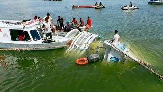 Porto de Moz, 2017. augusztus 24. A Porto de Moz-i polgári védelem által közreadott kép az elsüllyedt Comandante Ribeiro nevû hajóról a brazil Xingu folyón, Porto de Moz közelében 2017. augusztus 23-án. A zátonyra futott hajó fedélzetén hetvenen utaztak, a balesetben legkevesebb tíz ember életét vesztette, tizenöten ki tudtak úszni a partra, a többieket még keresik. (MTI/EPA/Porto de Moz-i polgári védelem)