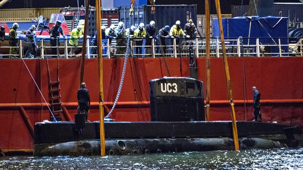 The rescued private owned submarine UC3 Nautilus that sank on Friday 11. August, are dragged into Copenhagen Harbor 12. August 2017 by the Salvage ship Vina. The Swedish journalist Kim Wall which was on board the submarine is still missing. Owner and Captain Peter Madsen was rescued and charged with negligent manslaughter. (Foto: Jens Noergaard Larsen/Scanpix 2017)