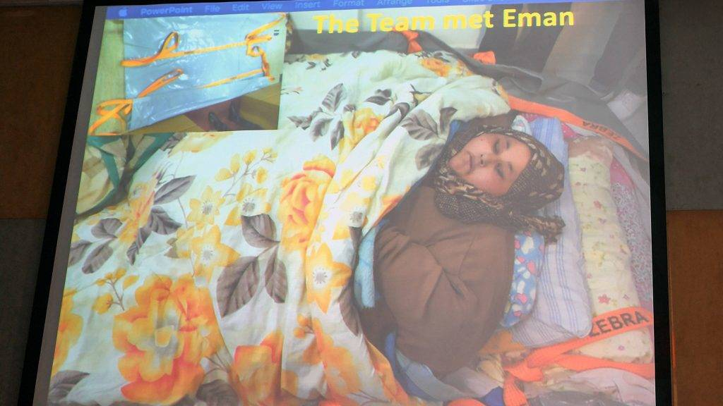 An image of Egyptian national Eman Ahmed Abd El Aty, who weighs around 500 kilograms (1,100 pounds), is displayed at a press conference attended by her Indian bariatric surgeon Muffazal Lakdawala in Mumbai on February 13, 2017. Abd El Aty, 36, believed to be the world's heaviest woman, weighing around 500 kilograms (1,100 pounds) will undergo weight reduction surgery in India after an intervention from the country's foreign minister ensured her a visa.  / AFP PHOTO / INDRANIL MUKHERJEE