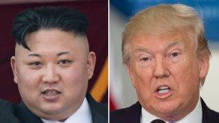 (COMBO) This combo of file photos shows an image (L) taken on April 15, 2017 of  North Korean leader Kim Jong-Un on a balcony of the Grand People's Study House following a military parade in Pyongyang; and an image (R) taken on July 19, 2017 of US President Donald Trump speaking during the first meeting of the Presidential Advisory Commission on Election Integrity in Washington, DC. North Korea declared itself a thermonuclear power on September 3, 2017, after it carried out a sixth nuclear test more powerful than any it has previously detonated and presenting President Donald Trump with an unprecedented challenge. / AFP PHOTO / SAUL LOEB AND Ed JONES