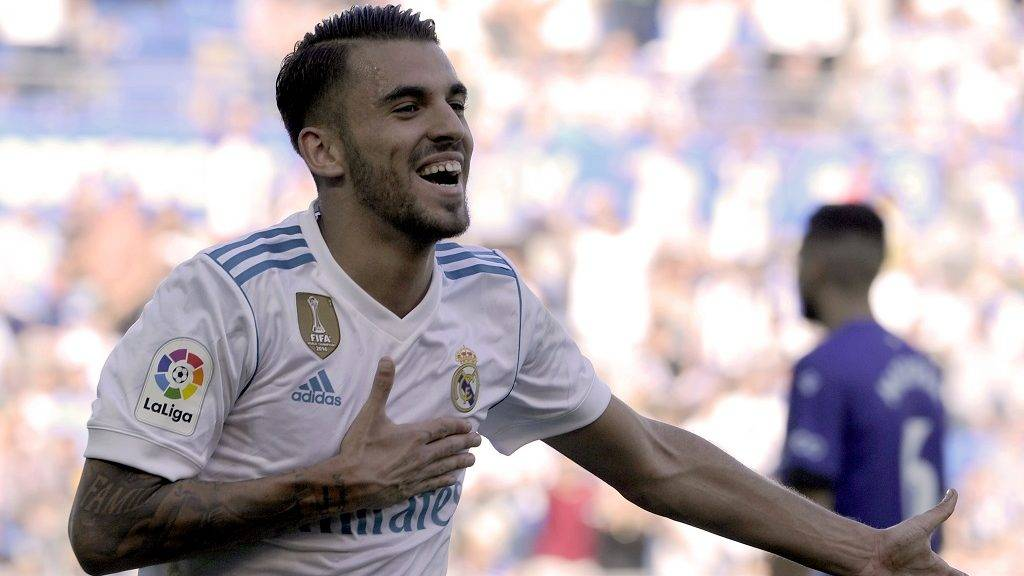 Real Madrid's midfielder from Spain Daniel Ceballos celebrates after scoring his team's secondd goal during the Spanish league football match Deportivo Alaves vs Real Madrid CF at the Mendizorroza stadium in Vitoria on September 23, 2017.  / AFP PHOTO / ANDER GILLENEA