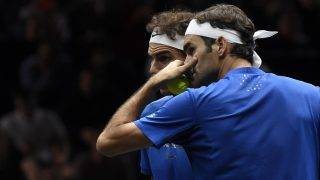 Swiss Roger Federer (R) and Spanish Rafael Nadal, both of Team Europe compete during their match against Sam Querrey and Jack Sock, both of Team World during second day of Laver Cup on September 23, 2017 in O2 Arena, in Prague.   / AFP PHOTO / Michal Cizek