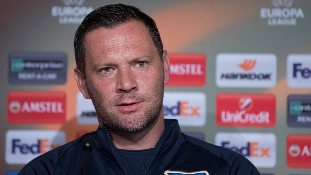 Hertha's head coach Pal Dardai speaks during a press conference regarding the Europa League Group Stage match between Hertha BSC nad Athletic Bilbao in Berlin, Germany, 13 September 2017. The match will take place on the 14th of September 2017. Photo: Soeren Stache/dpa