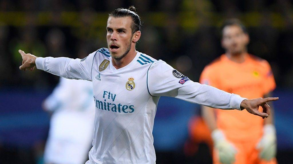 Gareth Bale (Real Madrid) jubelt ueber sein goal zum 0:1.  GES/ Fussball/ Champions League: Borussia Dortmund - Real Madrid, 26.09.2017  Football / Soccer: Champions League: Borussia Dortmund vs Real Madrid, Dortmund, September 26, 2017 |usage worldwide