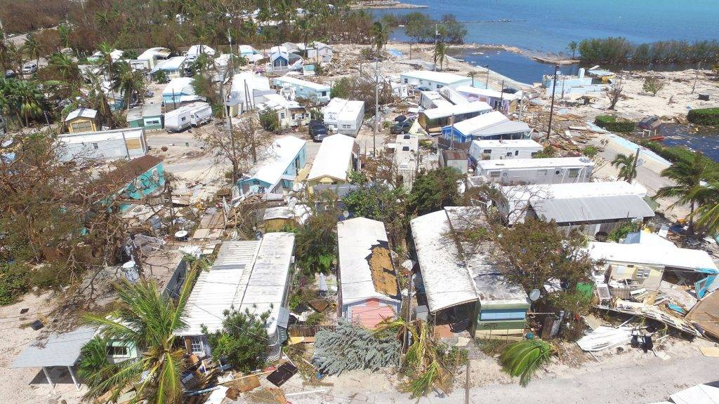 ISLAMORADA, FL - SEPTEMBER 12: The severely damaged Sea Breeze Trailer Park complex is shown following powerful Hurricane Irma on September 12, 2017 in Islamorada, a village encompassing six of the Florida Keys. Irma made landfall in the Florida Keys as a Category 4 Sunday, swelling waterways an estimated 10 to 15 feet, according to published reports.   Marc Serota/Getty Images/AFP