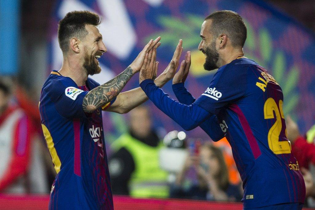 """Leo Messi from Argentina of FC Barcelona celebrating his """"poker"""" of goals with Aleix Vidal  from Spain of FC Barcelona during the La Liga match between FC Barcelona v Eibar at Camp Nou Stadium on September 19, 2017 in Barcelona, Spain. (Photo by Xavier Bonilla/NurPhoto)"""