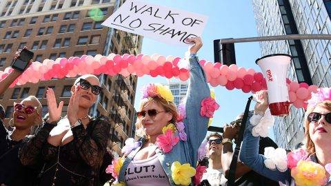 LOS ANGELES, CA - OCTOBER 01:  Model Amber Rose (L) attends the Amber Rose SlutWalk 2016 at Pershing Square on October 1, 2016 in Los Angeles, California.  (Photo by Amanda Edwards/FilmMagic)