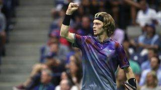 NEW YORK, NY - SEPTEMBER 06:  Andrey Rublev of Russia reacts against Rafael Nadal of Spain during their Men's Singles Quarterfinal match on Day Ten of the 2017 US Open at the USTA Billie Jean King National Tennis Center on September 6, 2017 in the Flushing neighborhood of the Queens borough of New York City.  (Photo by Matthew Stockman/Getty Images)