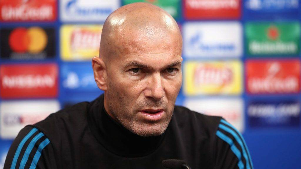 DORTMUND, GERMANY - SEPTEMBER 25:  Head coach Zinedine Zidane attends a Real Madrid press conference ahead of their UEFA Champions League Group H match against Borussia Dortmund at Signal Iduna Park on September 25, 2017 in Dortmund, Germany.  (Photo by Alex Grimm/Getty Images)